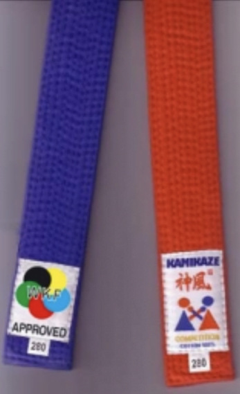 ceinture-competition-karate-kamikaze-coton-rouge-bleue-wkf-approved