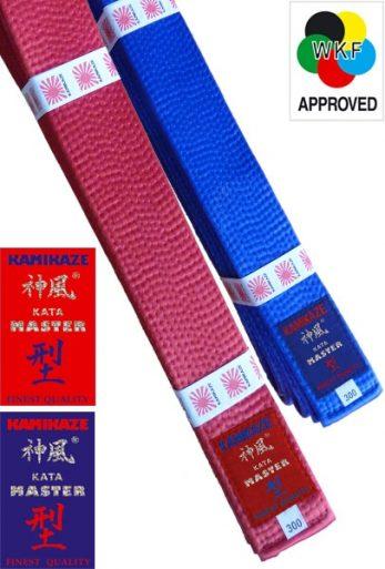 ceinture-competition-karate-kamikaze-kata-master-satin-rouge-ou-bleue-wkf-approved