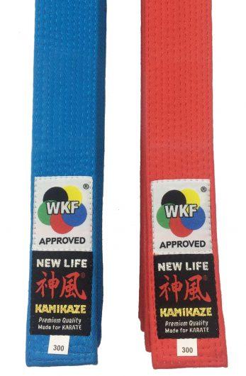 ceinture-karate-competition-kaimikaze-extra-large-new-life-premium-wkf-rouge-ou-bleu