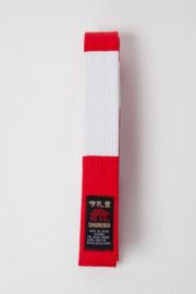 ceinture-karate-shureido-rouge-et-blanche-6-eme-dan-dessus