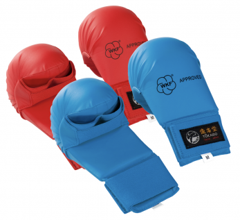 mitaines-gants-karate-tokaido-wkf-sans-pouce-rouge-bleu