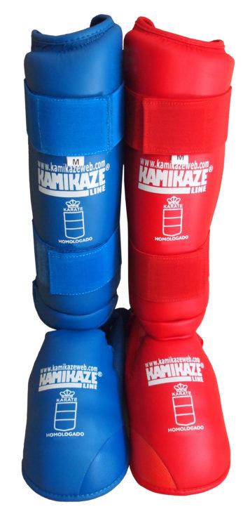 protèges-tibias-et-pieds-rouge-bleu-kamikaze