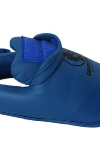 protege-pied-karate-detachable-pu-budo-fight-bleu-attache-velcro-pour-protege-tibia