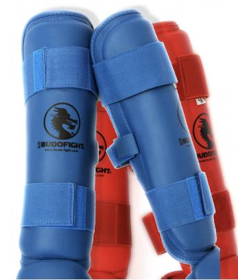 protege-tibia-detachable-pu-budo-fight-bleu-ou-rouge