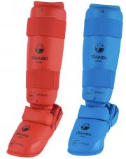 protege-tibia-et-pied-karate-tokaido-combine-wkf-rouge-bleu
