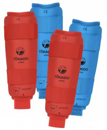 protege-tibias-karate-shureido-rouge-bleu-wkf