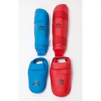 proteges-pied-tibia-shureido-rouge-bleu-wkf